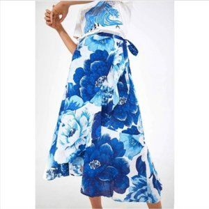 FARM Rio Floral Blue Midi Wrap Skirt Anthropologie